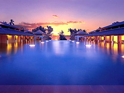 JW Marriott Phuket sunset at reflection pool