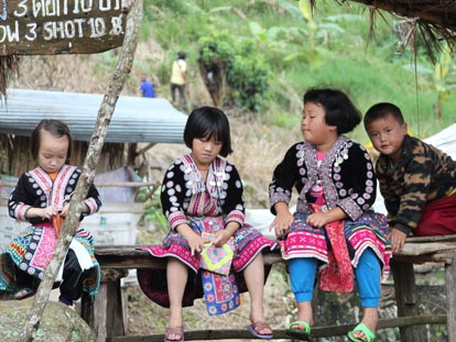 Thai kids in traditional clothing