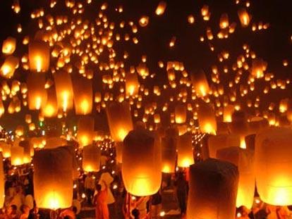 Floating lanterns during Loi Krathong in Chiang Mai