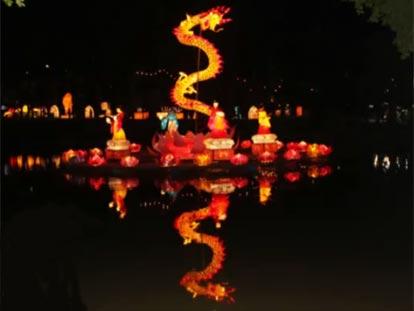 Dragon lantern on water at Hat Yai Lantern Festival