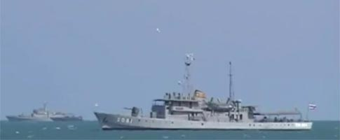 Naval ships anchored in Hua Hin protect the King