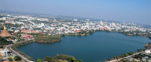 Khon Kaen Province from the air with Wat Nongwan
