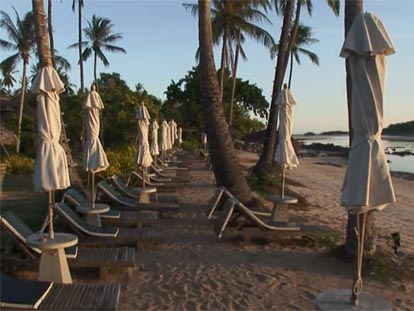 Beach chairs on a Koh Samui beach