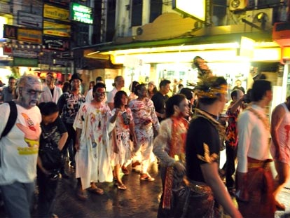 Zombies walking the streets at the annual Bangkok Zombie Walk