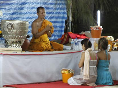 Traditional Buddhist offering to make merit